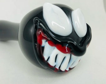 Venom Glass Spoon Pipe in Black & White, #760