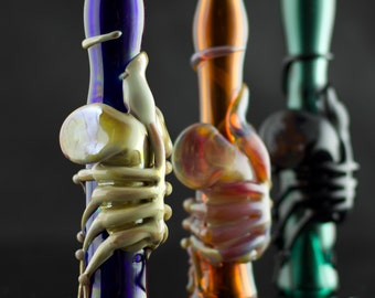 Facehugger Glass Chillum Bat Pipe in Your Choice of Color