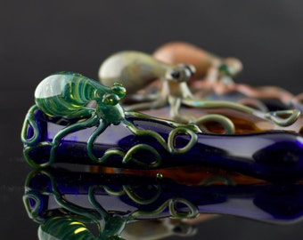 Octopus Glass Chillum Bat Pipe in Your Choice of Color