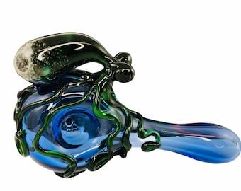 Octopus Glass Spoon Pipe in Light Cobalt Blue & Green XLT, #790