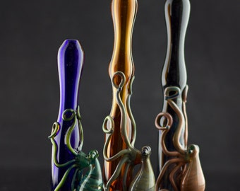Octopus Large Glass Chillum Bat Pipe in Your Choice of Color