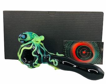 Octopus Glass Spoon Pipe in Black & Slyme, #789