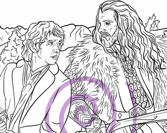 Digital Coloring Page Pack of 5 - Hobbit Inspired