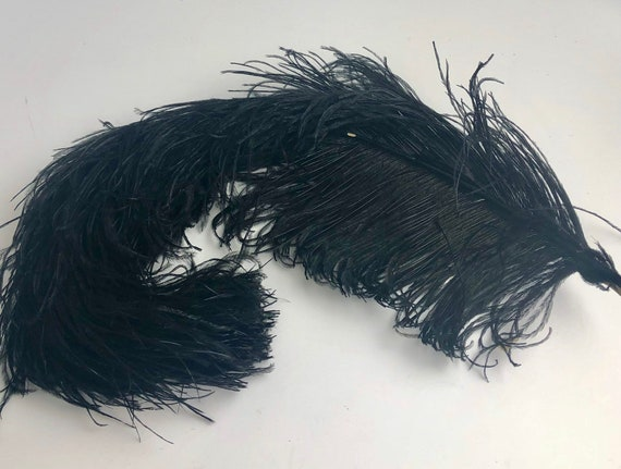 """1 pc of 20-22/"""" Black Ostrich Drab Plume Feather for Bouquet Millinery Headband"""