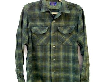Vintage Pendleton Wool Plaid 50s Shirt M Green
