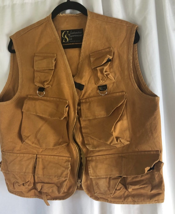 Vintage 60s Columbia Sportswear Fishing Vest Portl