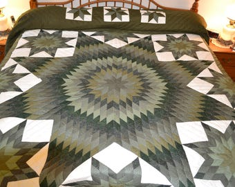 """Amish Handmade Quilted Star in Stars King 107"""" x 119"""""""