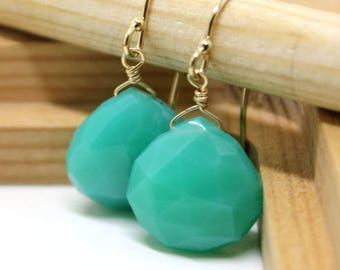 Mint Chalcedony, Emerald color, Gem Earrings - Green earrings - gold earrings - May Birthstone - clip on option