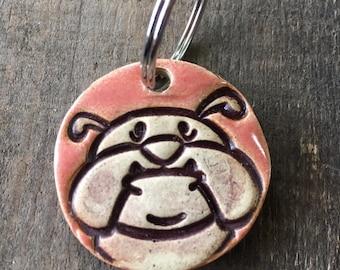Dog Tag/Keychain - Bulldog - Pink