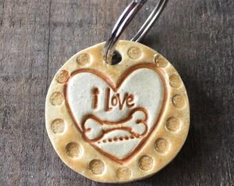 """Dog Tag/Keychain - """"I Love Bones"""" - Yellow"""