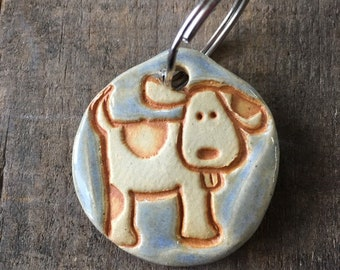 Dog Tag/Keychain - Spotted Puppy - Blue