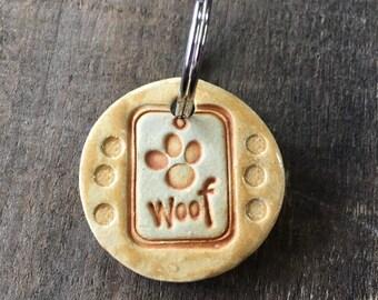 "Dog Tag/Keychain - ""Woof"" - Yellow"
