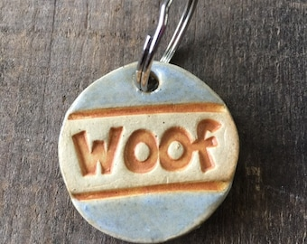 """Dog Tag/Keychain - """"Woof"""" - Blue"""