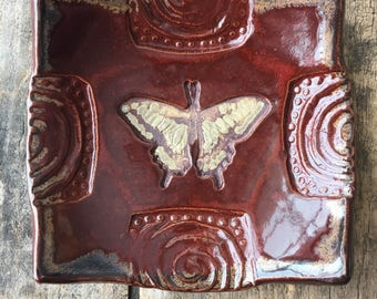 Decorative Dish/Spoon Rest -  Butterfly - Burgundy Swirl