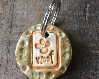 """Dog Tag/Keychain - """"Woof"""" - Green"""