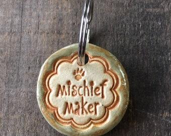 """Dog Tag/Keychain - """"Mischief Maker"""" - Green"""
