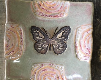 Decorative Dish/Spoon Rest -  Butterfly - Gray + Strawberry Cream