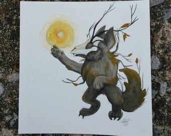 Wolf of Fall, chibi 5x5 watercolor