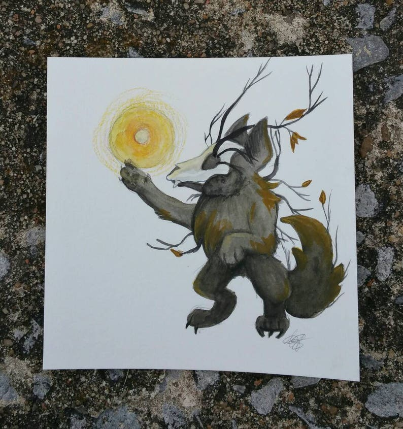 Wolf of Fall chibi 5x5 watercolor image 0