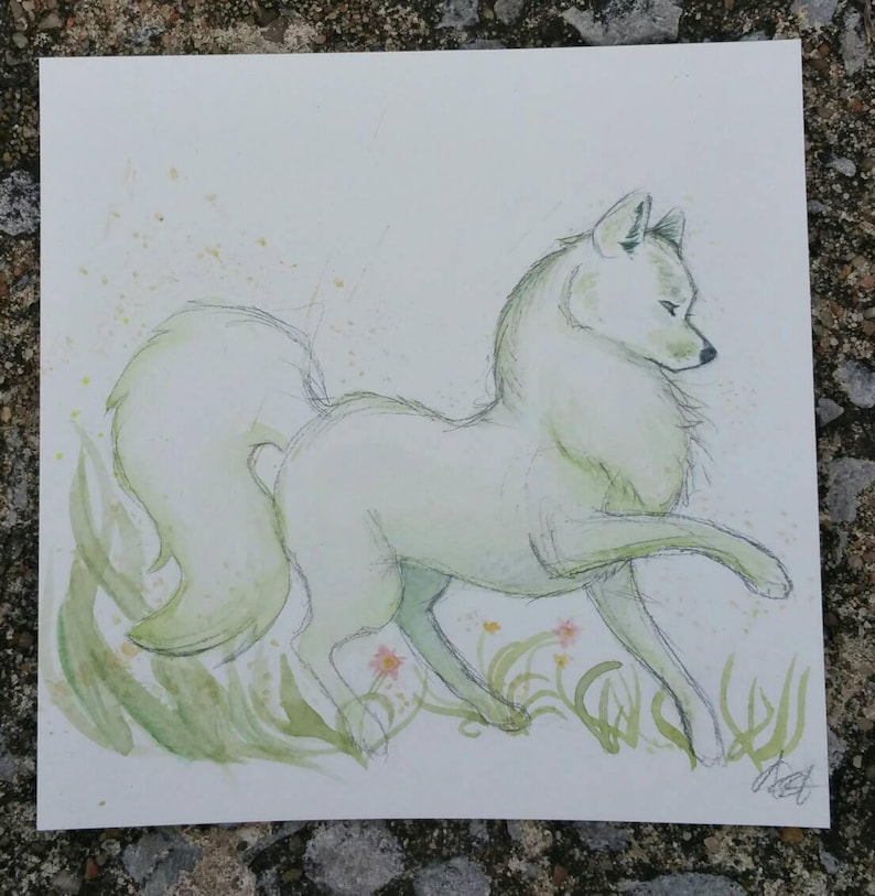 Wolf of Spring green wolf  5x5 watercolor image 0