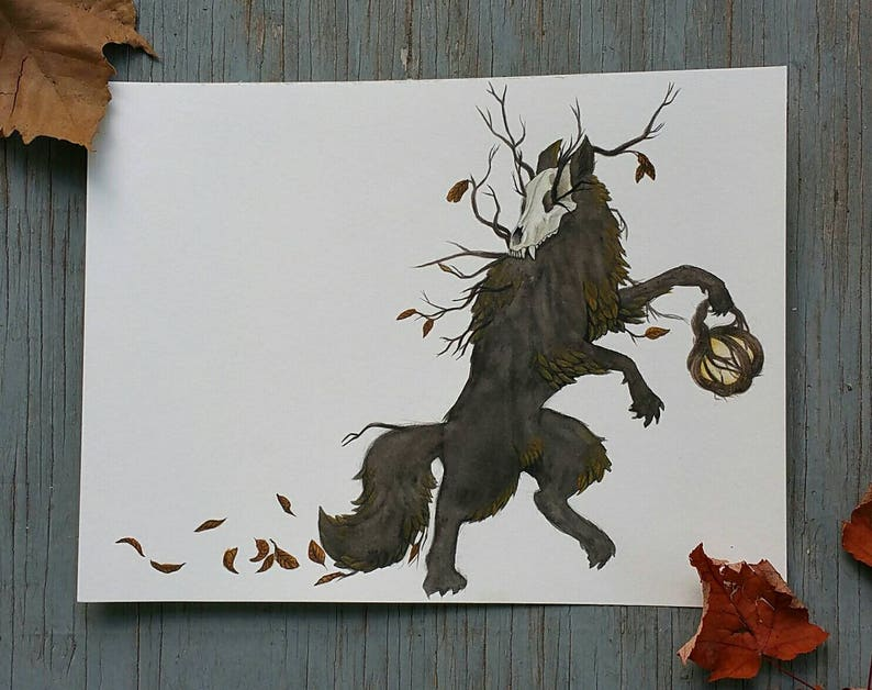 Wolf of Autumn 9x12 watercolor painting image 0