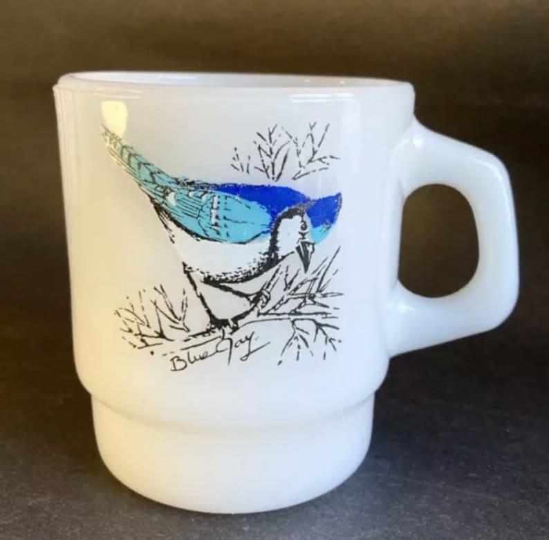 Vintage Fire King Cardinal & Blue Jay Bird D Handle Glass Mug image 0