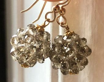 Crystal drop earrings Champagne crystal earrings Woven crystal ball earrings Holiday jewelry New Years Earrings BALL DROP