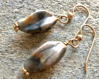 Drop earrings Moonstone Gold earrings Natural stone jewelry Gray and brown twisted stone earrings NATURAL TWIST