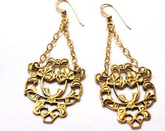 Gold earrings Drop earrings Dangle Chandelier earrings Vintage filigree jewelry Flower jewelry RIBBONS