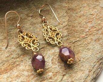 Gold dangle earrings with ruby Gold filigree earrings Delicate drop earrings Ruby jewelry Bali gold Gold vermeil Delicate gold earrings