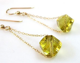 Gold earrings. Drop earrings. Crystal drop and gold chain. Yellow jewelry. Crystal jewelry. New Years Eve jewelry LEMON SPARKLE