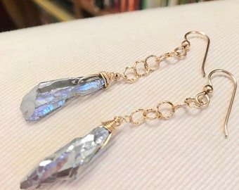 Drop earrings Dangle earrings Titanium dipped rock crystals hammered gold chain ROCKSTAR