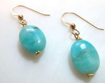 Drop earrings Dangle earrings Peruvian opal jewelry Gold turquoise gemstone earrings Green Blue ROBINS EGG