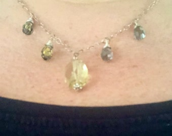Silver necklace silver chain yellow citrine gemstone drop and silver crystal drops