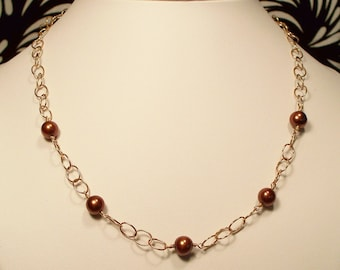 Chocolate Freshwater Pearls and 14K Gold Necklace
