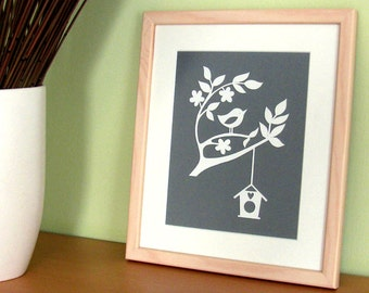 Bird Flowers Tree Handcut Papercut