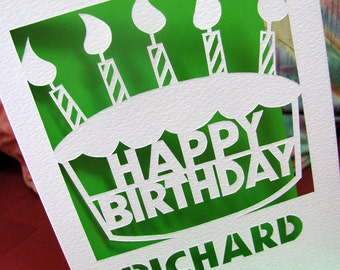 Personalized papercut birthday cake card