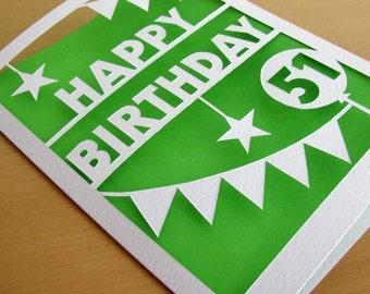 Personalized papercut birthday card