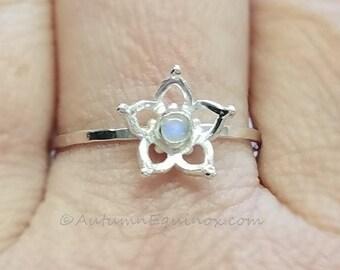 Rainbow Moonstone Ring Sterling Silver Flower Ring