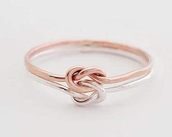 Chunky Double Knot Ring Sterling Silver Rose Gold Filled
