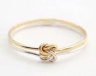 Double Love Knot Ring Sterling Silver Gold Filled