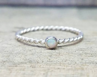 Opal Twist Ring Sterling Silver Stacking Ring
