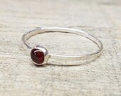 Garnet Ring Sterling Silver Stacking Ring Mothers Ring