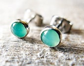 Green Chrysoprase Stud Earrings Sterling Silver