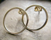 Sterling Silver Hoop Stud Earrings 15mm