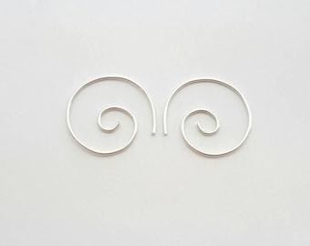 Spiral Hoop Earrings Sterling Silver