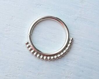 Silver Septum Ring Daith Piercing