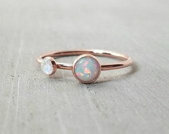 Opal Rainbow Moonstone Ring