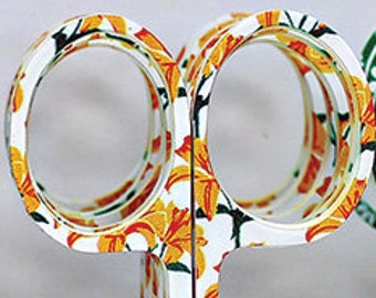 Embroidery Scissors  Golden Tiger Lilies  Allary Scissors  3 1/2 inch