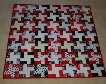 Scrappy Patchwork Baby or Lap Quilt - Red/Black/White